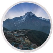Round Beach Towel featuring the photograph Namche And Thamserku Peak Morning Sunrays by Mike Reid