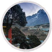 Round Beach Towel featuring the photograph Namche Monastery Morning Sunrays by Mike Reid