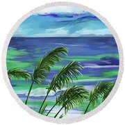 Round Beach Towel featuring the painting Namesinthesand-ynh by Tim GillilandNamesInTheSand