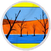 Round Beach Towel featuring the painting Namibia Desert Duns by Ken Frischkorn