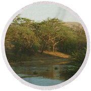 Namibian Waterway Round Beach Towel by Ernie Echols