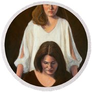 Nancy And Abby Round Beach Towel