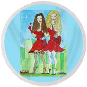 Nancy And Nicole Going Out At Night Round Beach Towel by Don Pedro De Gracia