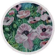Round Beach Towel featuring the painting Nancy's Poppies by Robin Maria Pedrero