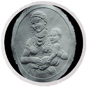 Round Beach Towel featuring the relief Nandi Tribe Woman And Child by Suhas Tavkar