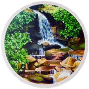 Nantahala Waterfall Round Beach Towel