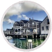 Nantucket Harbor In Summer Round Beach Towel