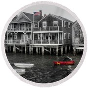Nantucket In Bw Series 6139 Round Beach Towel
