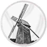 Nantucket Windmill Number One Round Beach Towel