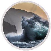 Napali Coast Hawaii Wave Explosion IIi Round Beach Towel