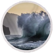 Napali Coast Kauai Wave Explosion Round Beach Towel