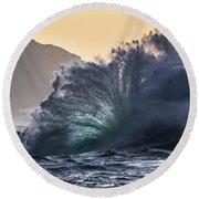 Napali Coast Kauai Wave Explosion Hawaii Round Beach Towel