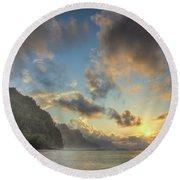 Napali Coast Sunset Kauai Round Beach Towel