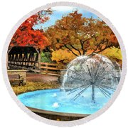 Round Beach Towel featuring the painting Naperville Dandelion Fountain by Christopher Arndt