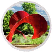 Round Beach Towel featuring the painting Naperville Landforms Sculpture by Christopher Arndt