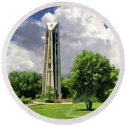 Round Beach Towel featuring the painting Naperville Millennium Carillon by Christopher Arndt