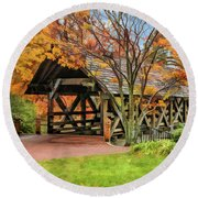 Round Beach Towel featuring the painting Naperville Riverwalk Covered Bridge by Christopher Arndt