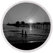 Naples Florida Pier Sunset Round Beach Towel