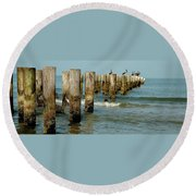 Naples Pier And Pelicans Round Beach Towel