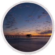 Naples Pier Magic Hour Round Beach Towel by Nick  Shirghio