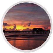 Naples Pier Silhouette  Round Beach Towel by Nick  Shirghio
