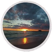Naples Pier Sunset  Round Beach Towel by Nick  Shirghio