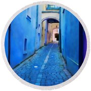 Narrow Blue Passage  Round Beach Towel