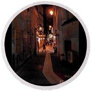 Narrow Red Street, Paris Round Beach Towel by Felipe Adan Lerma