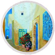 Round Beach Towel featuring the painting Narrow Street In Hammamet by Ana Maria Edulescu