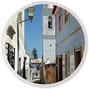 Narrow Street In Tavira - Portugal Round Beach Towel