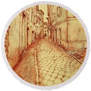 Narrow Street Of Lovere Italy Round Beach Towel