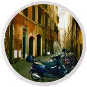 narrow streets in Rome Round Beach Towel