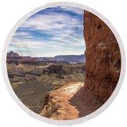 Narrow Trail On The South Kaibab Trail, Grand Canyon Round Beach Towel