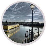 Narrowboat Idly Dan At Barton Marina On Round Beach Towel