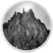 Round Beach Towel featuring the photograph Narrows Pinnacle Boulder Canyon by James BO Insogna
