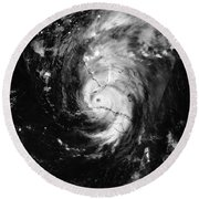 Nasa Hurricane Irma Between Cuba And Florida Satellite Image Round Beach Towel