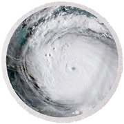Nasa Hurricane Irma Satellite Image Round Beach Towel