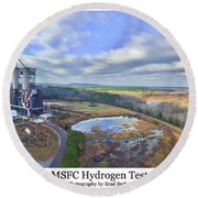 Round Beach Towel featuring the photograph Nasa Msfc Hydrogen Test Stand - Original by Norman Peay