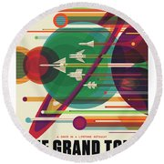 Nasa The Grand Tour Poster Art Visions Of The Future Round Beach Towel