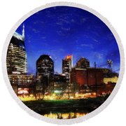 Nashville At Twilight Round Beach Towel