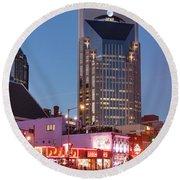 Round Beach Towel featuring the photograph Nashville - Batman Building by Brian Jannsen