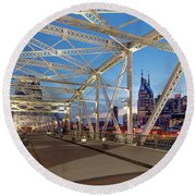 Round Beach Towel featuring the photograph Nashville Bridge by Brian Jannsen