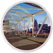 Round Beach Towel featuring the photograph Nashville Bridge II by Brian Jannsen