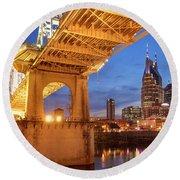 Round Beach Towel featuring the photograph Nashville Bridge IIi by Brian Jannsen