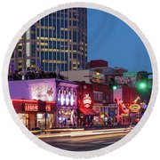Round Beach Towel featuring the photograph Nashville - Broadway Street by Brian Jannsen