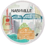 Nashville Cityscape- Art By Linda Woods Round Beach Towel