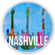 Nashville Guitars Music Scene Round Beach Towel