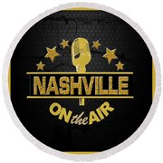 Nashville On The Air Round Beach Towel