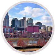 Nashville On The Riverfront Round Beach Towel by Frozen in Time Fine Art Photography
