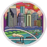 Nashville Pop Art Travel Poster Round Beach Towel